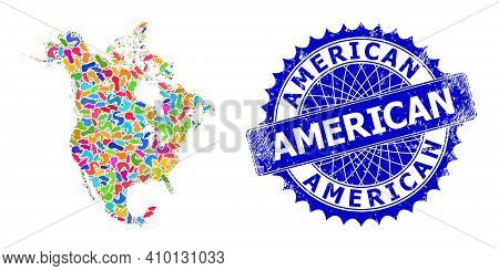 North America V2 Map Flat Illustration. Blot Collage And Grunge Stamp Seal For North America V2 Map.