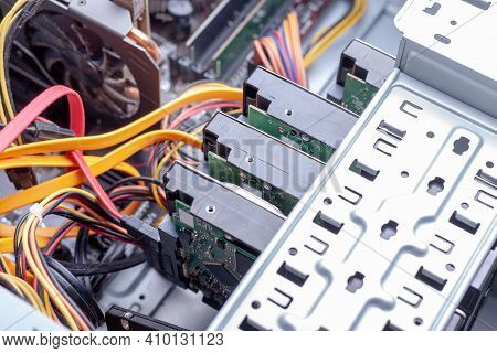 Close Up Open Desktop Pc For Hardware Maintenance. Hdd Raid Massive For Data Storage. Dust Cleaning