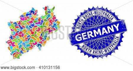 North Rhine-westphalia Land Map Flat Illustration. Spot Pattern And Unclean Stamp For North Rhine-we