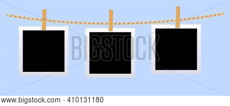 Square Black Blank Photo Set Mockup Hungled On String. Realistic Empty Template For Collage With Clo