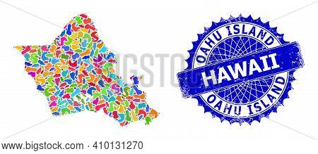 Oahu Island Map Vector Image. Splash Collage And Corroded Mark For Oahu Island Map. Sharp Rosette Bl