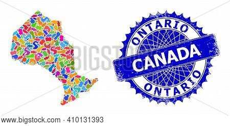 Ontario Province Map Vector Image. Spot Pattern And Corroded Stamp Seal For Ontario Province Map. Sh