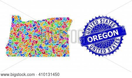 Oregon State Map Flat Illustration. Blot Mosaic And Corroded Stamp Seal For Oregon State Map. Sharp