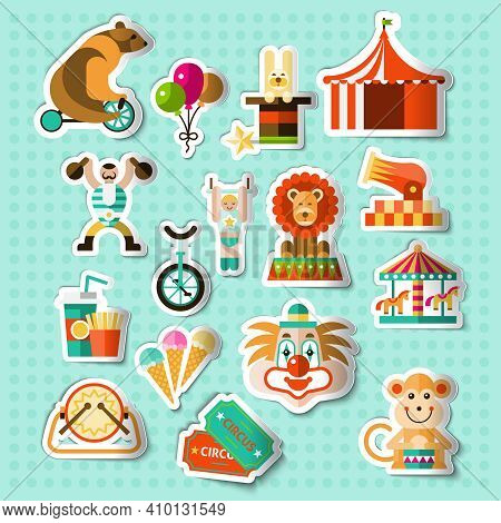 Circus Entertainment Paper Stickers Set With Tickets Lion Icecream Isolated Vector Illustration