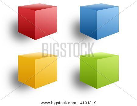 Cuatro cajas de colores
