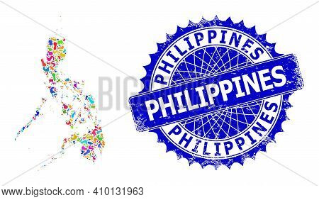 Philippines Map Template. Spot Collage And Grunge Seal For Philippines Map. Sharp Rosette Blue Seal