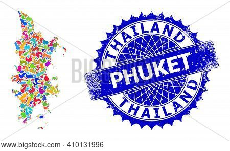 Phuket Map Abstraction. Blot Collage And Scratched Mark For Phuket Map. Sharp Rosette Blue Mark With