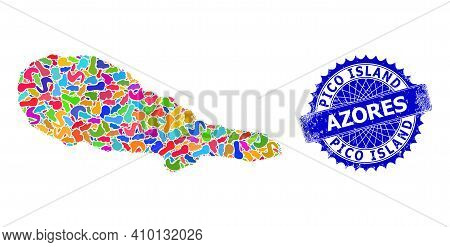 Pico Island Map Vector Image. Spot Mosaic And Rubber Seal For Pico Island Map. Sharp Rosette Blue Ba