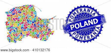 Pomeranian Voivodeship Map Vector Image. Spot Pattern And Distress Stamp Seal For Pomeranian Voivode