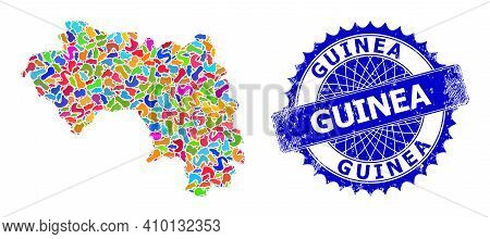 Republic Of Guinea Map Abstraction. Blot Mosaic And Scratched Stamp Seal For Republic Of Guinea Map.