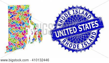 Rhode Island State Map Template. Splash Mosaic And Rubber Seal For Rhode Island State Map. Sharp Ros
