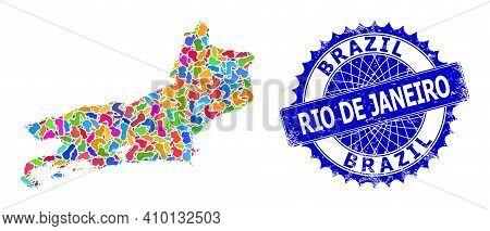 Rio De Janeiro State Map Vector Image. Blot Collage And Corroded Stamp For Rio De Janeiro State Map.