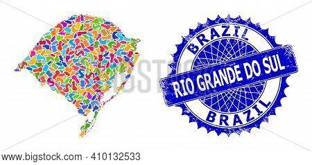 Rio Grande Do Sul State Map Vector Image. Blot Pattern And Grunge Stamp Seal For Rio Grande Do Sul S
