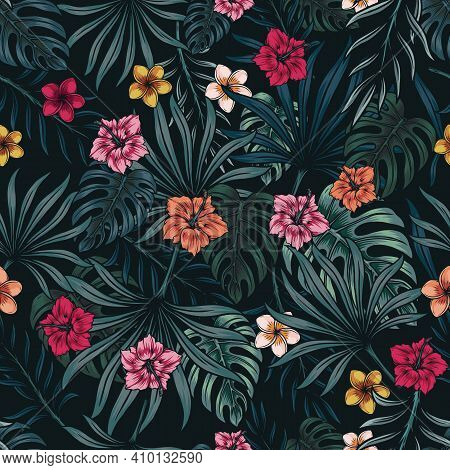 Tropical Floral Colorful Seamless Pattern With Exotic Leaves And Flowers On Dark Background Vector I