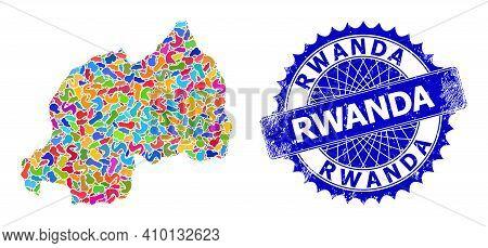 Rwanda Map Vector Image. Blot Collage And Distress Stamp For Rwanda Map. Sharp Rosette Blue Stamp Se