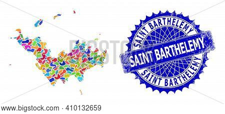 Saint Barthelemy Map Vector Image. Spot Collage And Scratched Stamp Seal For Saint Barthelemy Map. S
