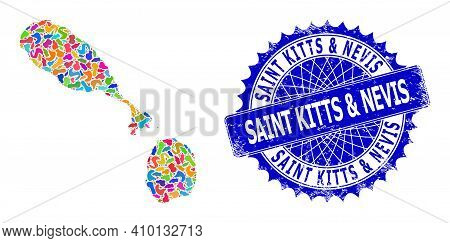Saint Kitts And Nevis Map Abstraction. Splash Mosaic And Unclean Stamp Seal For Saint Kitts And Nevi