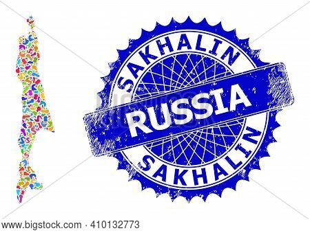 Sakhalin Island Map Flat Illustration. Blot Pattern And Rubber Mark For Sakhalin Island Map. Sharp R