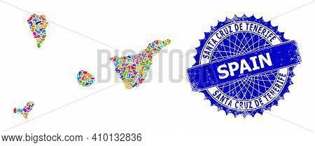 Santa Cruz De Tenerife Province Map Flat Illustration. Spot Pattern And Corroded Mark For Santa Cruz