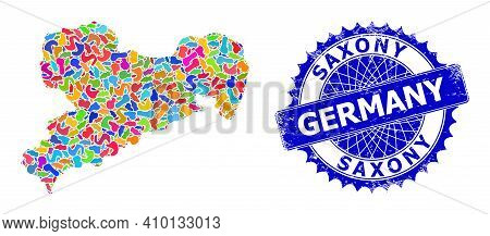 Saxony Land Map Vector Image. Splash Mosaic And Scratched Watermark For Saxony Land Map. Sharp Roset