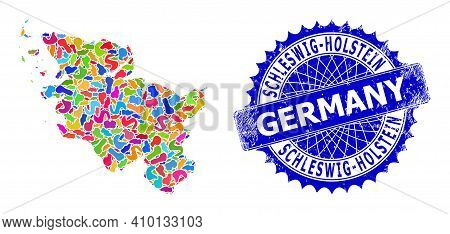 Schleswig-holstein Land Map Abstraction. Spot Mosaic And Rubber Seal For Schleswig-holstein Land Map