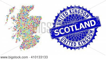 Scotland Map Abstraction. Spot Mosaic And Scratched Stamp Seal For Scotland Map. Sharp Rosette Blue