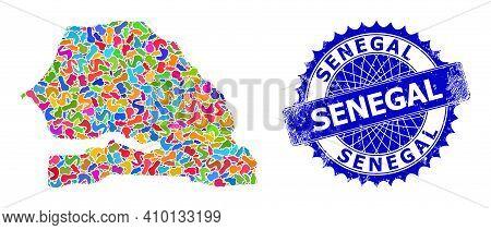 Senegal Map Template. Splash Collage And Scratched Stamp Seal For Senegal Map. Sharp Rosette Blue St