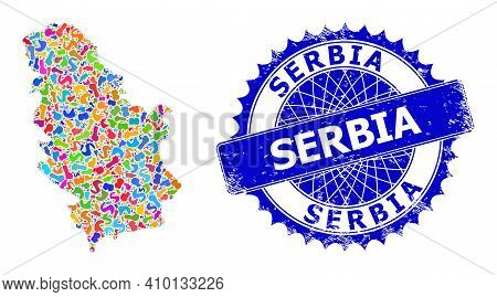 Serbia Map Vector Image. Splash Mosaic And Rubber Stamp Seal For Serbia Map. Sharp Rosette Blue Seal