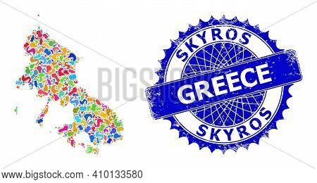 Skyros Island Map Vector Image. Spot Collage And Unclean Stamp For Skyros Island Map. Sharp Rosette