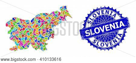 Slovenia Map Flat Illustration. Splash Pattern And Distress Stamp Seal For Slovenia Map. Sharp Roset