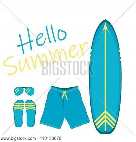 Summertime Greetings, Light Surfboard Set On White Background. Vector Illustration On The Theme Of S