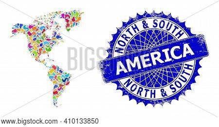 South And North America Map Abstraction. Spot Mosaic And Scratched Mark For South And North America