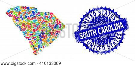 South Carolina State Map Flat Illustration. Blot Mosaic And Unclean Stamp Seal For South Carolina St