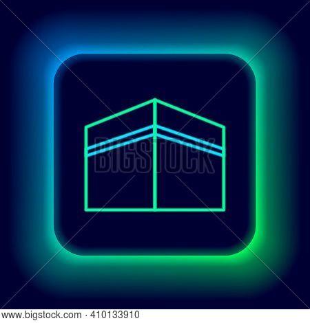 Glowing Neon Line Kaaba Mosque Icon Isolated On Black Background. Kaaba Hajj Mecca Pray Pilgrimage R