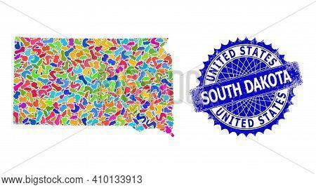 South Dakota State Map Abstraction. Splash Mosaic And Distress Stamp Seal For South Dakota State Map