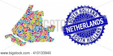 South Holland Map Template. Spot Pattern And Rubber Stamp Seal For South Holland Map. Sharp Rosette