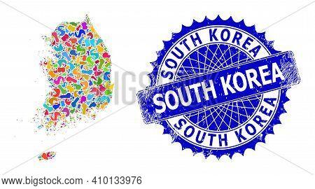 South Korea Map Template. Splash Mosaic And Rubber Stamp Seal For South Korea Map. Sharp Rosette Blu