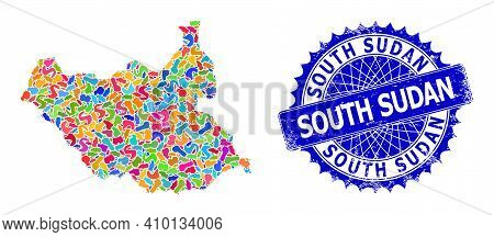 South Sudan Map Vector Image. Spot Collage And Rubber Seal For South Sudan Map. Sharp Rosette Blue S