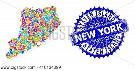 Staten Island Map Abstraction. Spot Collage And Grunge Stamp For Staten Island Map. Sharp Rosette Bl