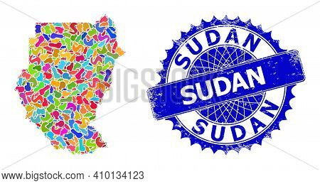 Sudan Map Vector Image. Spot Collage And Rubber Mark For Sudan Map. Sharp Rosette Blue Mark With Cap