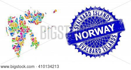 Svalbard Islands Map Flat Illustration. Spot Mosaic And Scratched Stamp Seal For Svalbard Islands Ma