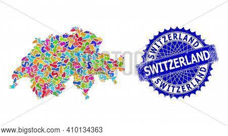 Switzerland Map Abstraction. Splash Mosaic And Corroded Badge For Switzerland Map. Sharp Rosette Blu