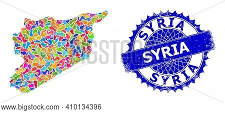 Syria Map Abstraction. Blot Mosaic And Unclean Watermark For Syria Map. Sharp Rosette Blue Seal With