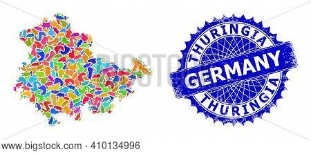 Thuringia Land Map Vector Image. Spot Mosaic And Grunge Mark For Thuringia Land Map. Sharp Rosette B