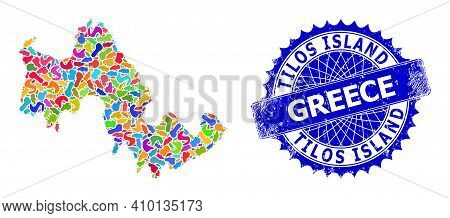 Tilos Island Map Template. Blot Collage And Grunge Watermark For Tilos Island Map. Sharp Rosette Blu