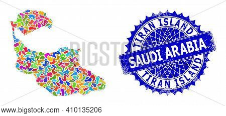 Tiran Island Map Vector Image. Splash Collage And Unclean Mark For Tiran Island Map. Sharp Rosette B