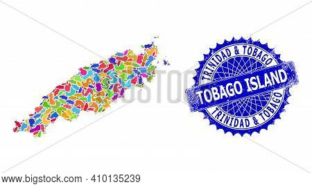 Tobago Island Map Abstraction. Spot Mosaic And Scratched Mark For Tobago Island Map. Sharp Rosette B