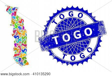 Togo Map Flat Illustration. Spot Mosaic And Corroded Seal For Togo Map. Sharp Rosette Blue Seal With