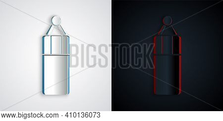 Paper Cut Punching Bag Icon Isolated On Grey And Black Background. Paper Art Style. Vector