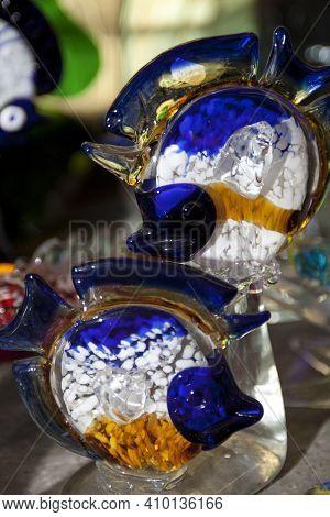 Algaida Es Pla, Majorca / Spain - August 25, 2016: A Colorful Fish Created At Handmade Glass Manufac